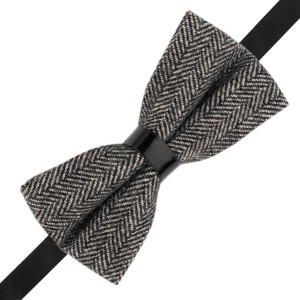 Herringbone Black and Grey Wool Bow Tie