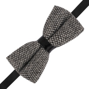 Geometric Plaid Black and Grey Wool Bow Tie