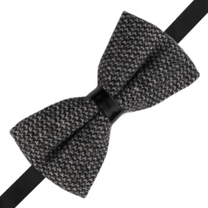 Geometric Plaid Dark Black and Grey Wool Bow Tie