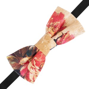 Floral Red and Peach Leather Bow Tie
