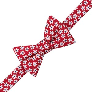 Red With White Flower Bow Tie