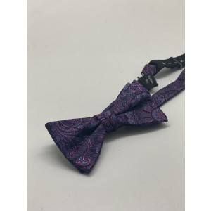 Blue with Purple Paisley Silk Bow Tie