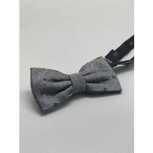 Grey with Blue Floral Silk Bow Tie