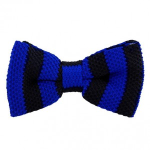 Neo Stripe Black and Navy Knitted Bow tie