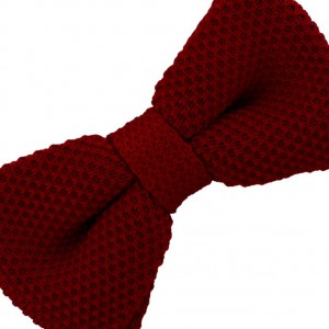 Solid Maroon Knitted Bow Tie For Men