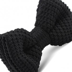 Black Solid Knitted Bow Tie