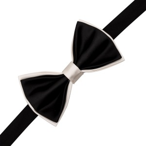 White and Black Silk Bow Tie