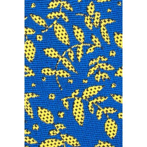 Hanging Floral Blue With Yellow Leaf Cashmere Necktie By The Tie Hub