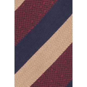 June Maroon,Gold and Blue Stripe Cashmere Necktie