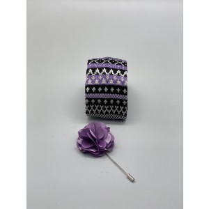 Heritage Geo Purple Knitted Necktie and Lapel Pin Combo Box