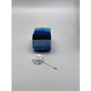 Edition Striped Blue Knitted Necktie and Lapel Pin Combo Box