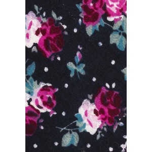 Campbell Blue and Magenta Floral 100% Cotton Necktie