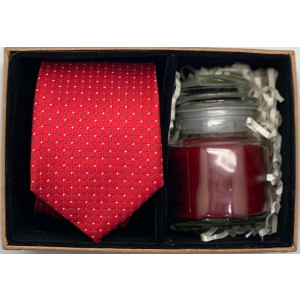 Red With Blue and White Polka Necktie Combo