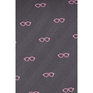 Specs Dark Grey With Pink 100% silk Necktie