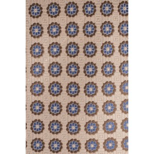 Power Creme with Blue and Brown Floral 100% Silk Necktie