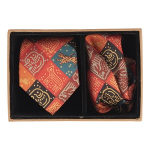 Orange Animal Blocks 60% Silk 40% Khadi Necktie and Pocket Square Combo