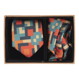 Orange and Green Square 60% Silk 40% Khadi Necktie and Pocket Square Combo