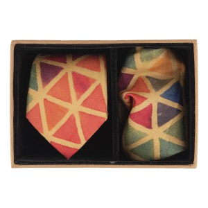 Multicolour triangle 60% Silk 40% Khadi Necktie and Pocket Square Combo