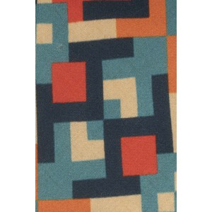 Orange and Green Square 60% Silk 40% Cotton Necktie