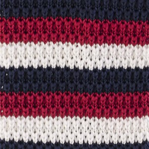 Drooper Stripe - Navy Blue and Maroon Slim Handmade Knitted Necktie