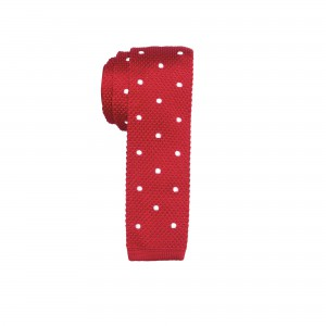 Sport Dots White polka dot in Red Knitted Necktie by The Tie Hub