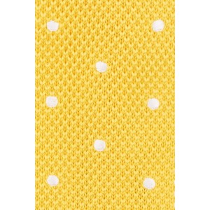 Sport Dots White polka dot in Yellow  Knitted Necktie