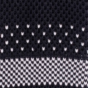 Black And White Slim Handmade Knitted Necktie
