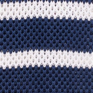 Striped Blue And White Slim Handmade Knitted Necktie