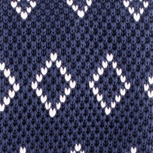 Navy Blue and White Diamonds Slim  Knitted Necktie