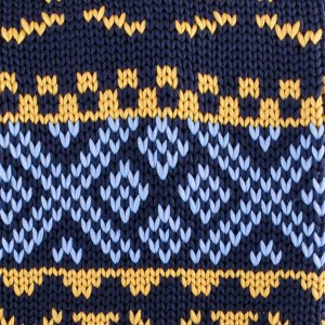 Heritage Yellow And Blue Slim Handmade Knitted Necktie