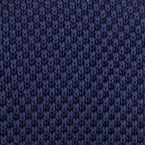 Solid Navy Blue Slim Handmade Knitted Necktie