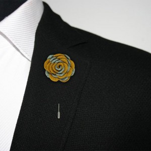 Foxglove Grey and Mustard Lapel Pin