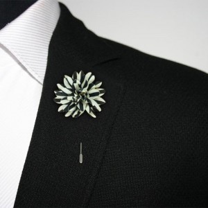 Aster Black and White Lapel Pin
