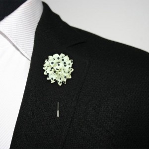 Gladiolus White and Black Lapel Pin