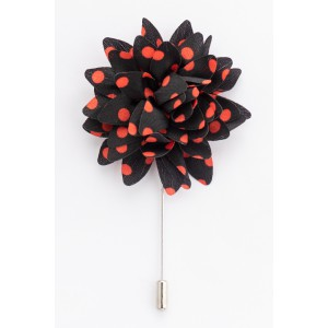 Lapel Pin - Gladiolus - Black/Red  Flower