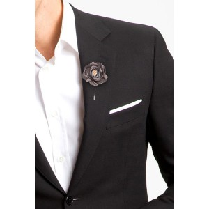 Zinnia Dark Grey Flower Lapel Lin
