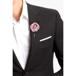 Zinnia Pink Flower Lapel Pin