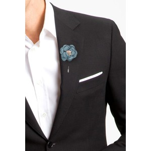 Ixora Teal Flower Lapel Pin