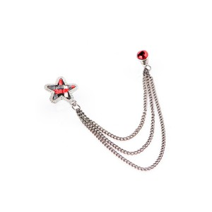 Star Red Chain Metal Lapel Pin
