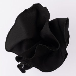 Freehand Solid Black Round With Black Border Pocket Square For Men By The Tie Hub
