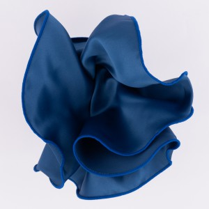 Freehand Solid Blue Round Wit Blue Border Pocket Square For Men By The Tie Hub