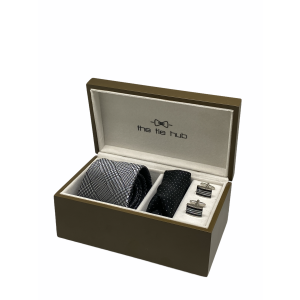 Plaid Silver 100% Silk Necktie with Pocket Square and MOP Cufflink Gift Set