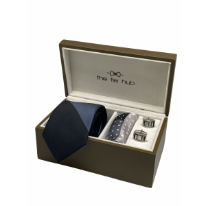 Solid Black and Grey 100% Silk Necktie with Pocket Square and MOP Cufflink Gift Set