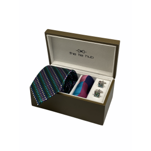 Multicolor Checks 100% Silk Necktie with Pocket Square and MOP Cufflink Gift Set
