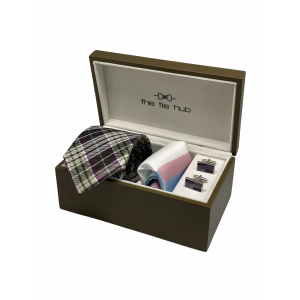 Green Checks with Brown Stripes 100% Silk Necktie with Pocket Square and MOP Cufflink Gift Set