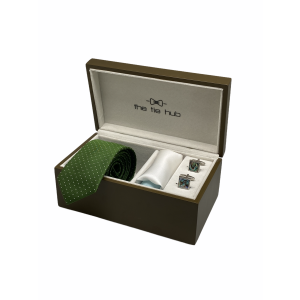 Free Fall Polka Green 100% Silk Necktie with Pocket Square and MOP Cufflink Gift Set