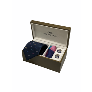 Navy Blue with Multicolor Specs 100% Silk Necktie with Pocket Square and MOP Cufflink Gift Set