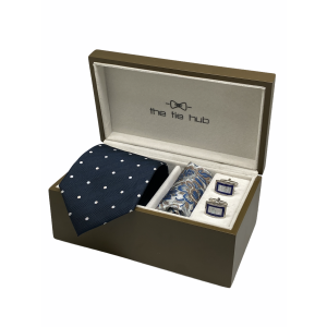 Navy Blue with White Polka 100% Silk Necktie with Pocket Square and MOP Cufflink Gift Set