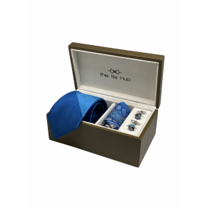 Solid Blue 100% Silk Necktie with Pocket Square and Cufflink Gift Set
