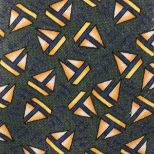 Green with Sailboat Motif Regular 100% Silk Necktie